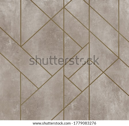 Golden lines on dirty beige plaster texture, Abstract decoration, golden pattern. Picture for wallpaper or background. Black, white, blue, gold waves Cover template, geometric shapes, modern minimal Royalty-Free Stock Photo #1779083276