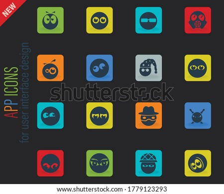 Emotions and glances vector color web icons on dark background for user interface design #1779123293