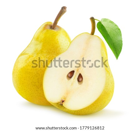 Isolated pears. One and a half yellow pear isolated on white background Royalty-Free Stock Photo #1779126812