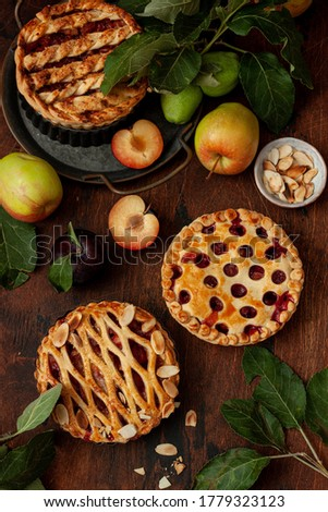 Homemade sweet pies with apples and plums on wooden background Royalty-Free Stock Photo #1779323123