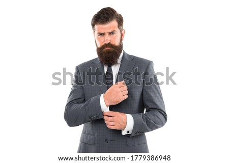 Going for something more classic. Fashion look of bearded man. Businessman fix cuff isolated on white. Formal fashion style. Formalwear. Mens wardrobe. Fashion store. Classy fashion. #1779386948