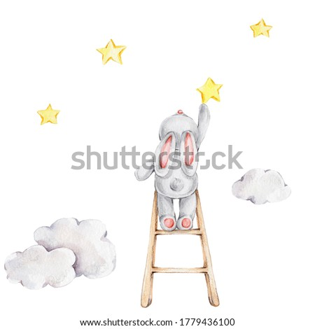 Cute cartoon bunny on the stairs and yellow stars and clouds; watercolor hand draw illustration; can be used for kid posters or baby shower; with white isolated background
