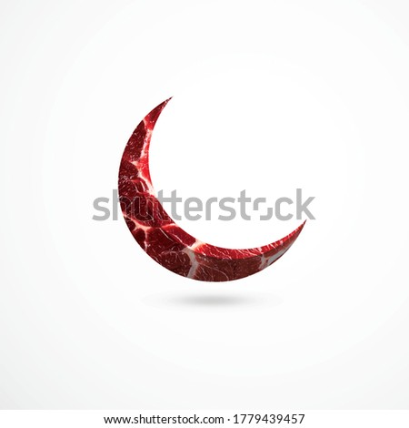 Eid moon, Moon shaped meat on isolated background, Muslim holiday Eid al-Adha, kurban bayrami,Meat cuts, fresh raw beef steak, Luxury beef,Fresh meat cut up into steaks, Eid al-Adha #1779439457