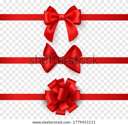 Gift bows with ribbons. Horizontal silk red ribbon with decorative bow, realistic luxury festive satin tape for decor or holiday packaging 3d vector set isolated on transparent background