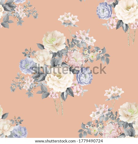 Watercolor Flower Collection , Watercolor Clipart, floral arrangement, pink rose flowers and decorative elements.