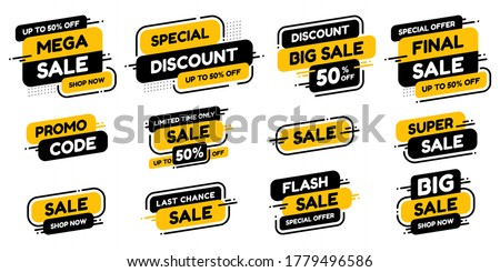 Set labels with inscription sale. Vector flat illustrations. Ad or promo. Shopping concept. Promotion price label mega sale, shop now, special discount, big sale, limited time only, last chance. Royalty-Free Stock Photo #1779496586