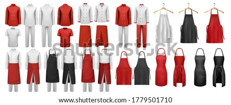 Big set of culinary clothing, white and red suits and aprons. Vector. Royalty-Free Stock Photo #1779501710