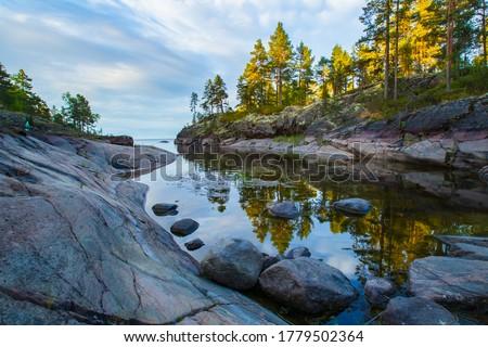 Russia. Karelia. Karelian skerries. lake Ladoga. Channel of lake Ladoga with stony banks. Northern nature. Travel to Karelia. #1779502364