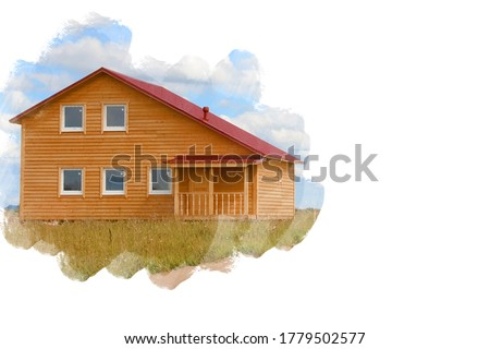 Photograph of wooden house is shown on a white background. Real estate. Photo of house is stylized a painting. Place for text. Country house on background sky. Real estate in suburbs. Purchase estate
