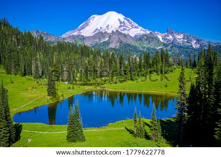 Summer mountain green valley lake and peak snow. Mountain lake landscape. Mountain gree valley lake view. Lake at mountain peak snow #1779622778