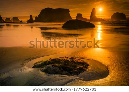 Sunset sea sand beach landscape. Sunset beach rocks view. Sunset rocky beach landscape #1779622781