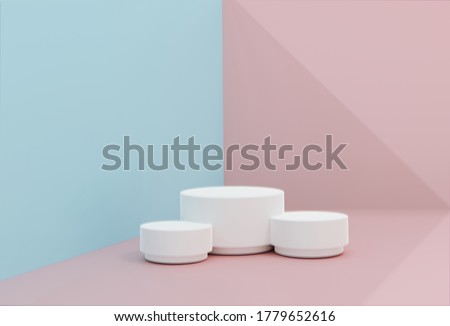 Pink-blue minimal scene , podiumfor cosmetic product presentation. Abstract background with geometric podium platform in pastel colors. Template for design, presentation, 3d Illustration. Render