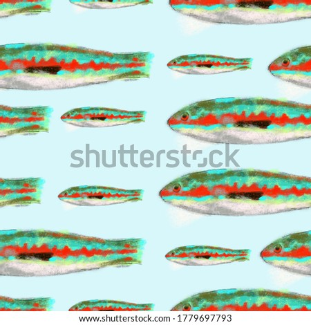 Donzella fish pattern from the Mediterranean sea, ideal footage for themes such as Mediterranean cuisine and Mediterranean fish