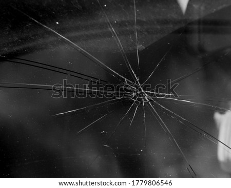 Terrible dangerous car after a fatal accident. Broken windshield. A broken car with broken glass. Сar hazard. Reckless dangerous driving. Broken windshield after fatal accident with a pedestrian #1779806546