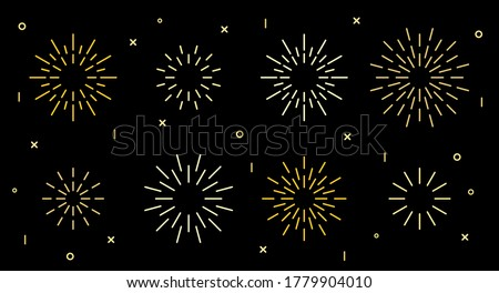 Sparkle star shape art deco fireworks burst pattern collection. Gold star shaped firecracker pattern collection isolated on black background with rays and trails. Carnival celebration fireworks burst #1779904010