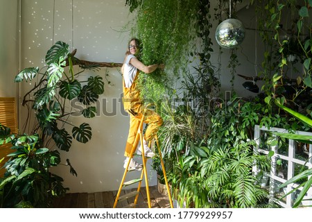 Joyful young woman gardener in orange overalls standing on a stepladder, embracing lush asparagus fern houseplant in her flower store. Greenery at home. Love of plants. Indoor cozy garden.  #1779929957