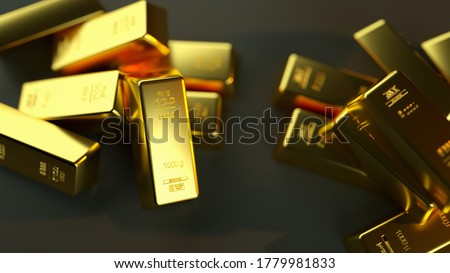 A closeup shot of gold bullions on a black background - wealth business success concept Royalty-Free Stock Photo #1779981833