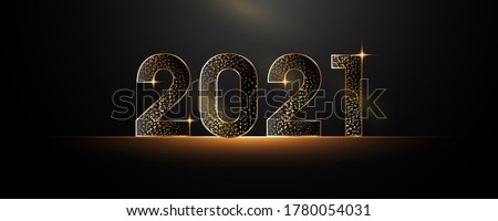 Happy New Year 2021. Black paper numbers with sequins Happy New year banner with 2021 numbers dark vector holiday glowing illustration. #1780054031