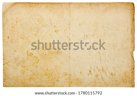 Old stained vintage torn paper background with folds and shabby edges, isolated on white, high resolution