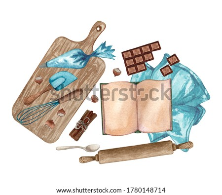 Baking watercolor illustration with kitchen utensils, chopping board, spoon, rolling pin, chocolate bar, whisk, nuts, recipes book on white background. Top view. Cooking clip art.  Baking concept.