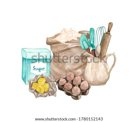 Baking watercolor illustration with kitchen utensils, butter, rolling pin, flour, sugar, clay jag, eggs on white background. Hand drawn Cooking clip art.  Baking concept.