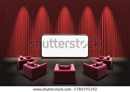 theater stage curtains show spotlight. Watching movies cinema online entertainment media on smartphone with red sofa or armchair. hall and meeting together. screen with clipping path. 3D Illustration.