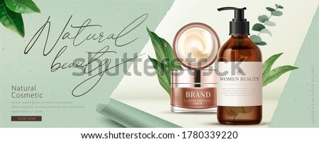Ad banner for natural beauty products, decorated with ripped paper effect and natural leaves, concept of simple skincare, 3d illustration #1780339220