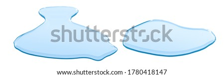 real image,spilled water drop on the floor isolated with clipping path on white background.