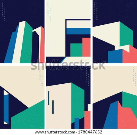 Abstract architecture background with geometric pattern with modern building cover set background Royalty-Free Stock Photo #1780447652