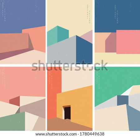 Abstract architecture background with geometric pattern with modern building cover set background Royalty-Free Stock Photo #1780449638