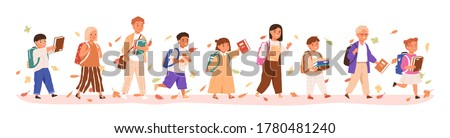 Set of boys and girls going to elementary or middle school vector illustration. Happy pupils holding books surrounded by autumn leaves isolated on white. Collection of children with backpack or bag #1780481240