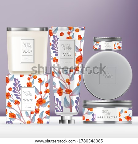 Vector Elegance Flower Pattern Toiletries or Skin Care Set with Hand Cream Tube, Scented Candle with Metallic Lid  & Metallic Lip Balm or Body Butter Tin Jar. Carton Box Outer Packaging. #1780546085