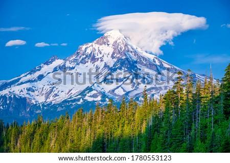 Mountain peak snow landscape. Snowy mountain peak view #1780553123