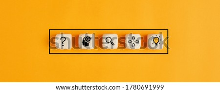 The process of idea formation or creation and problem solving. Thinking, analyzing, research, information gathering and idea icons on wooden cubes. Royalty-Free Stock Photo #1780691999
