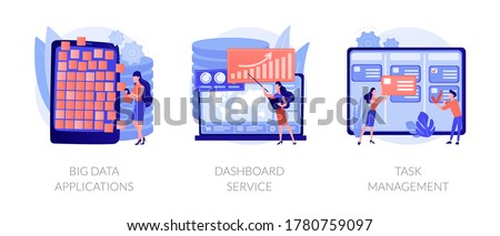 Company projects management optimization. Business activity automation. Big data applications, dashboard service, task management metaphors. Vector isolated concept metaphor illustrations Royalty-Free Stock Photo #1780759097