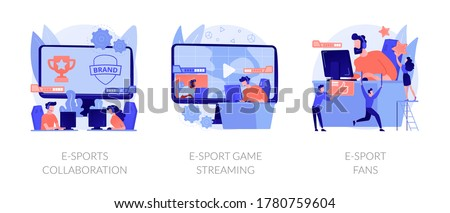 Electronic sports organization, internet team play, online competition. E-sports collaboration, e-sport game streaming, e-sport fans metaphors. Vector isolated concept metaphor illustrations. #1780759604