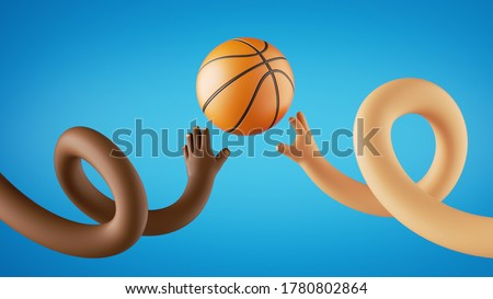3d render, funny cartoon characters play basketball game, african and caucasian hands throw ball. Sportive clip art isolated on blue background.
