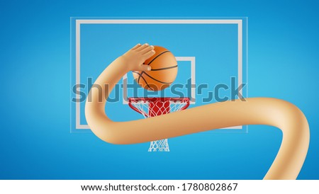 3d render, Basketball lay up. funny cartoon character plays basketball game, long flexible hand throws ball into the basket. Sportive clip art isolated on blue background.