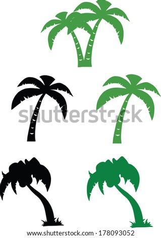 Silhouette Palm Tree. Set Raster Collection