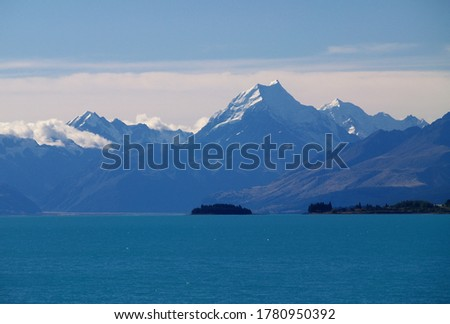 Evening view of Mount Cook, Aoraki, from the shore of Lake Tekapo   #1780950392