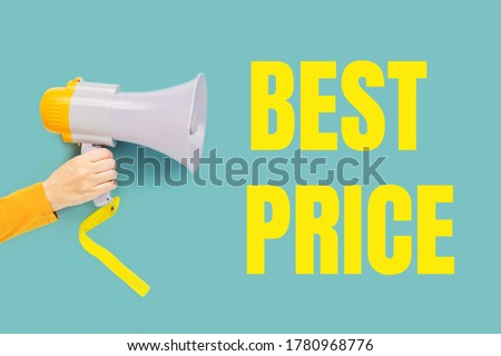 BEST PRICE text in yellow on teal and a hand with megaphone. Sale commercial, best price guarantee. Clearance announcement. Shopping concept Royalty-Free Stock Photo #1780968776