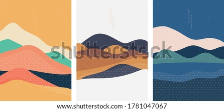 Natural Landscape background with Japanese pattern vector. Geometric template in traditional of Japan. Mountain in Asian poster design. Abstract arts. Royalty-Free Stock Photo #1781047067