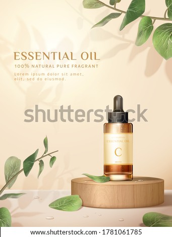Beauty product ad, concept of natural skincare, dropper bottle mock-up set on wooden block with eucalyptus leaves #1781061785