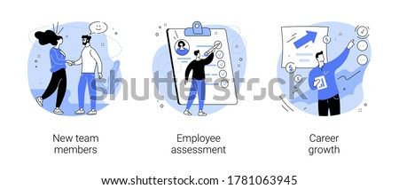 Career development abstract concept vector illustration set. New team members, employee assessment, career growth, performance review, SWOT analysis, job position, project team abstract metaphor. Royalty-Free Stock Photo #1781063945