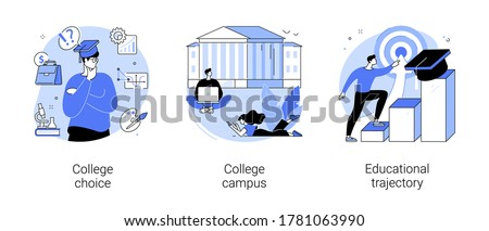 Student life abstract concept vector illustration set. College choice, college campus, educational trajectory, assessment test, graduation, campus tour, university events, library abstract metaphor. Royalty-Free Stock Photo #1781063990