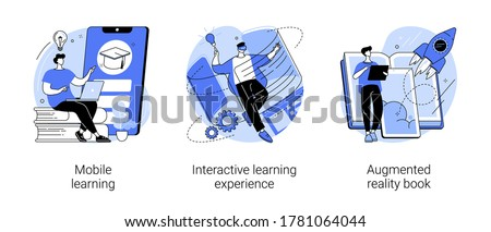 Interactive learning abstract concept vector illustration set. Mobile learning, augmented reality book, m-learning application, e-learning platform software, digital content abstract metaphor. Royalty-Free Stock Photo #1781064044