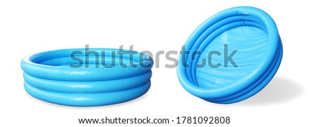 Inflatable paddling pool blue, without water empty. pool kiddy isolate.