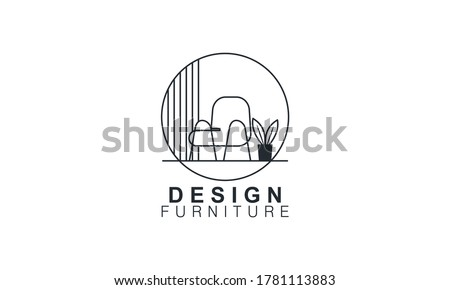 Interior minimalist room, gallery furniture logo design vector Royalty-Free Stock Photo #1781113883