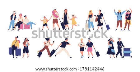 Set of scenes with tourists, people going on summer vacation, journey, trip. Young, elderly couple, families, kids with baggage, luggage at airport. Flat cartoon vector illustration isolated on white #1781142446