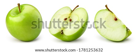 Green apple isolate. Apples on white background. Whole, half, slice green apple set with clipping path. Royalty-Free Stock Photo #1781253632